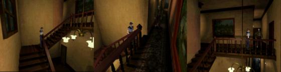 couloir du premier étage jouant sur le hors champ